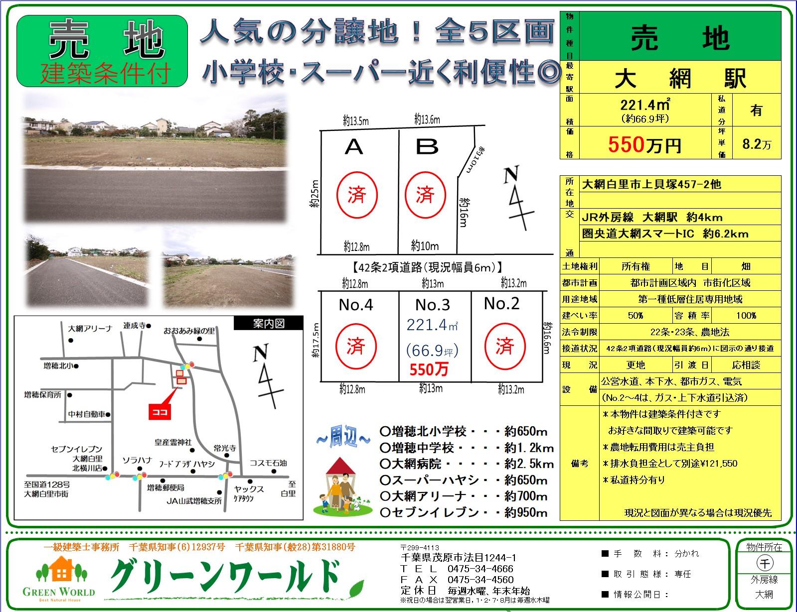【建築条件付売土地】大網白里市上貝塚