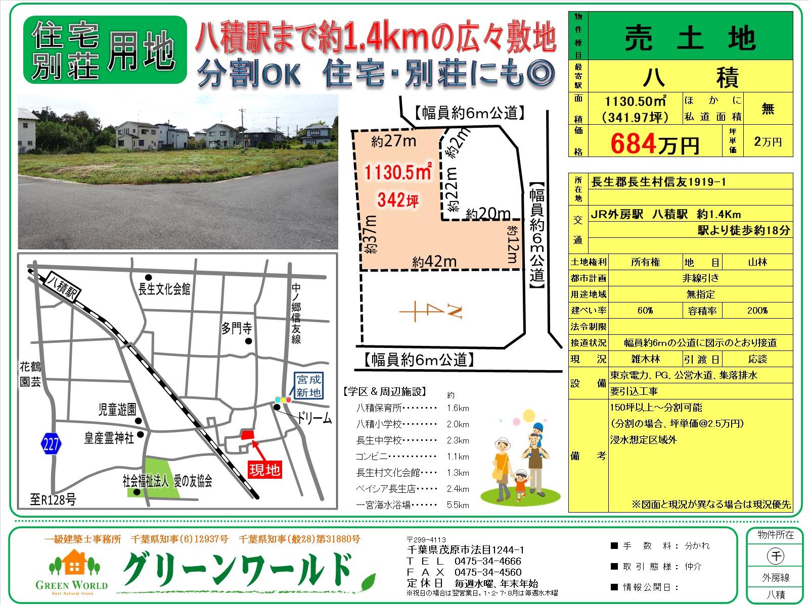 【売土地】長生村信友342坪