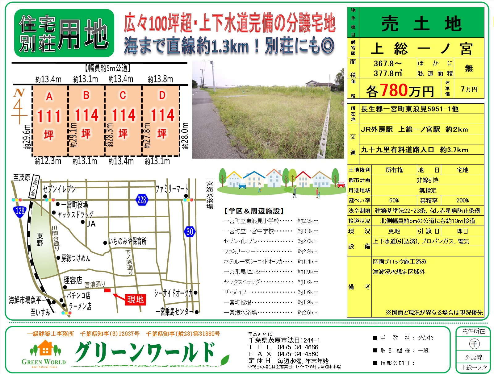 【売土地】東浪見111~114坪(4区画)