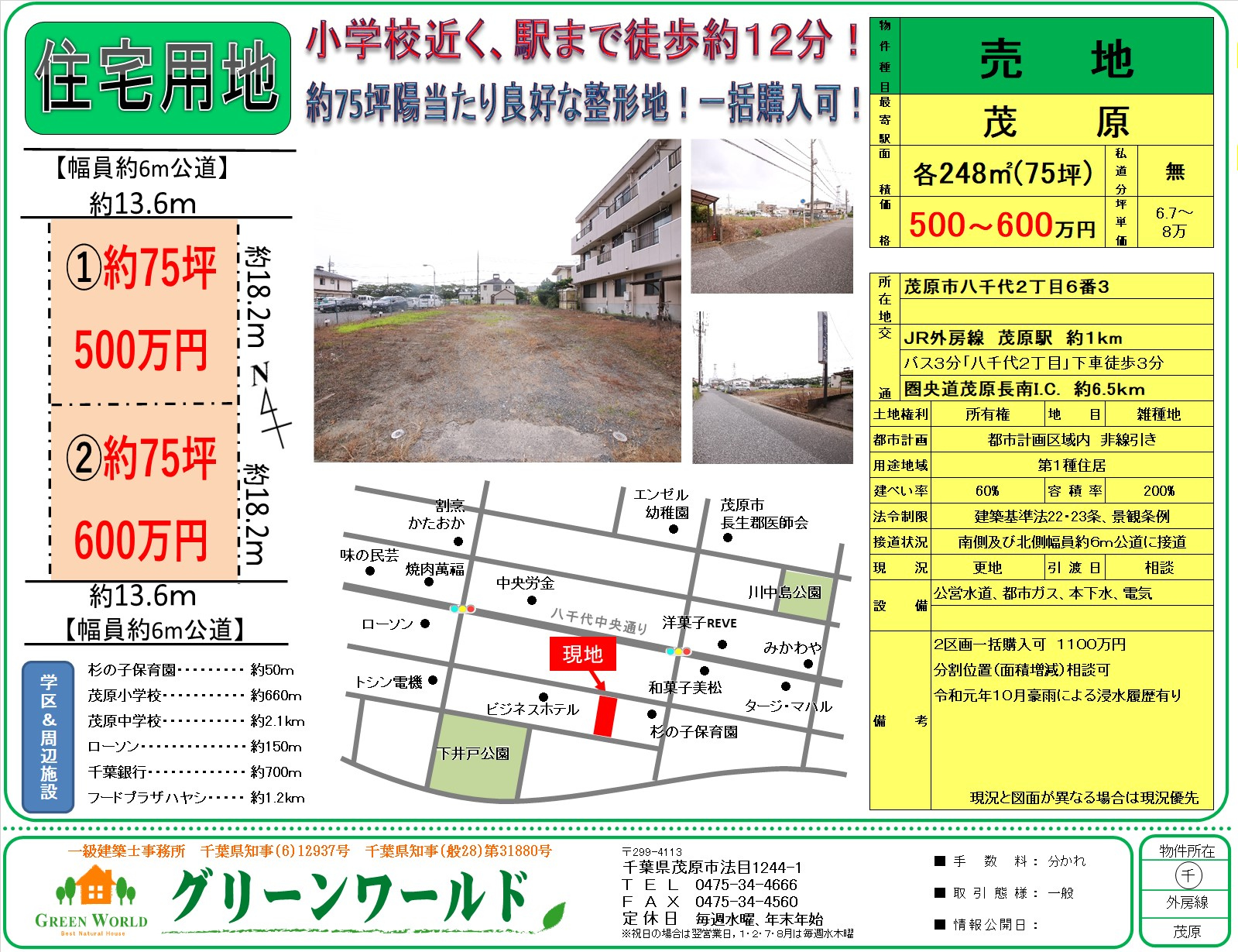 【売土地】茂原市八千代75坪(2区画)