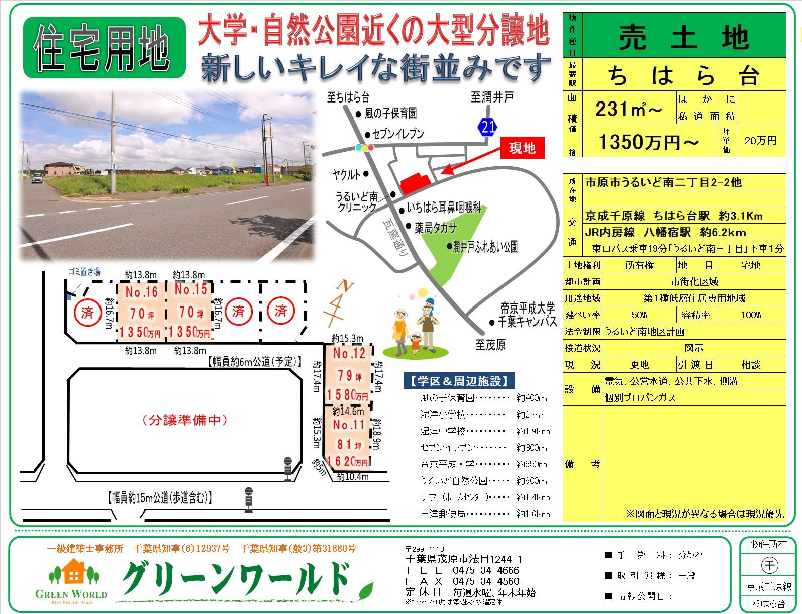 【売土地】うるいど南70~81坪 4区画